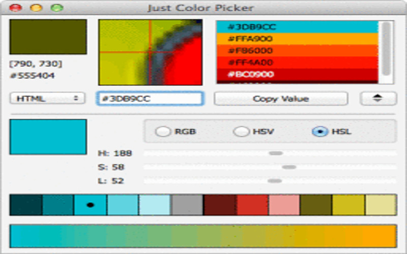 Screenshot af Just Color Picker til Mac