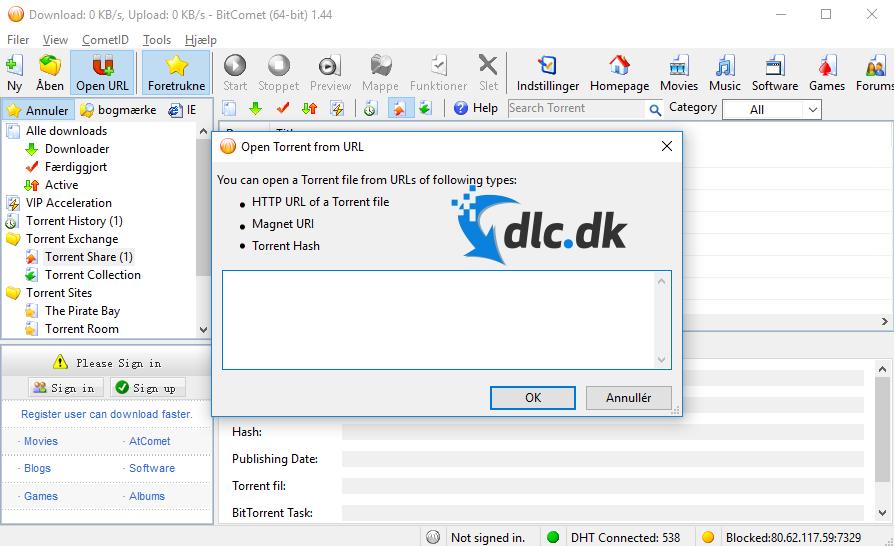 Screenshot af BitComet
