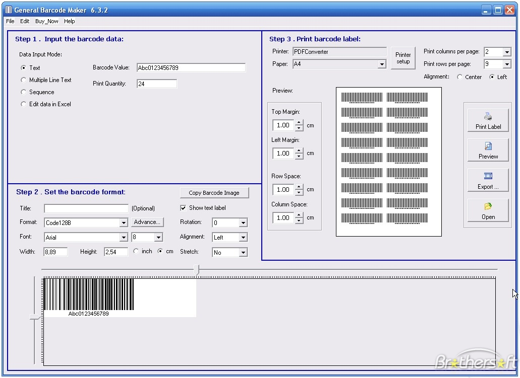 Screenshot af General Barcode Maker