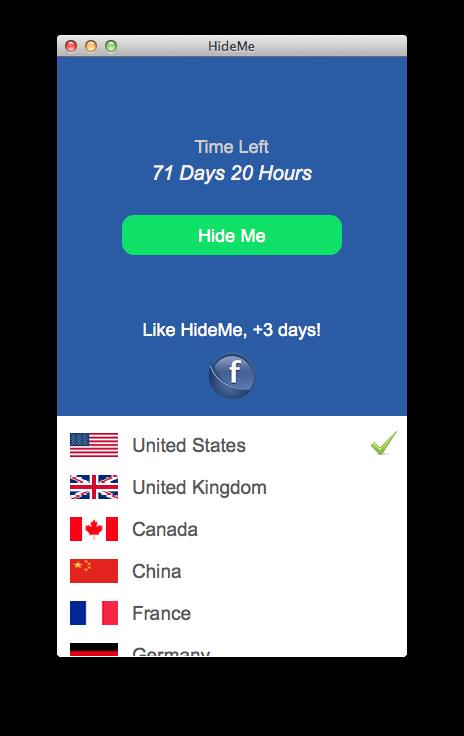 Screenshot af HideMe VPN