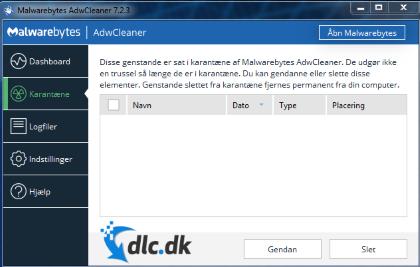 Screenshot af AdwCleaner (Dansk)