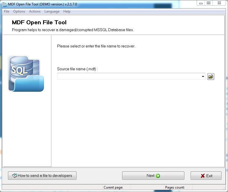Screenshot af MDF Open File Tool