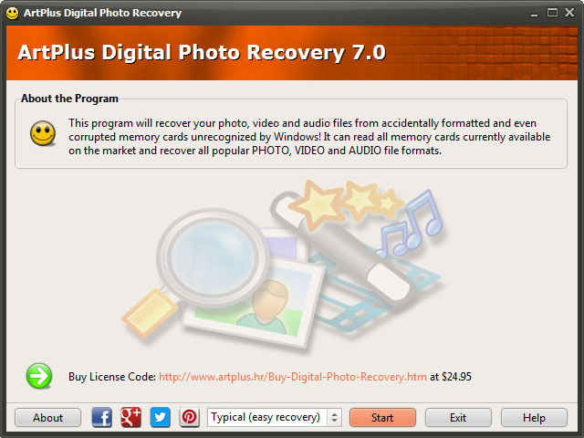 Screenshot af Artplus Digital Photo Recovery