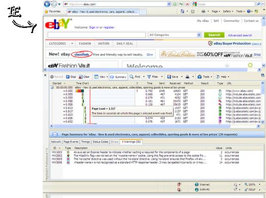 Screenshot af HttpWatch