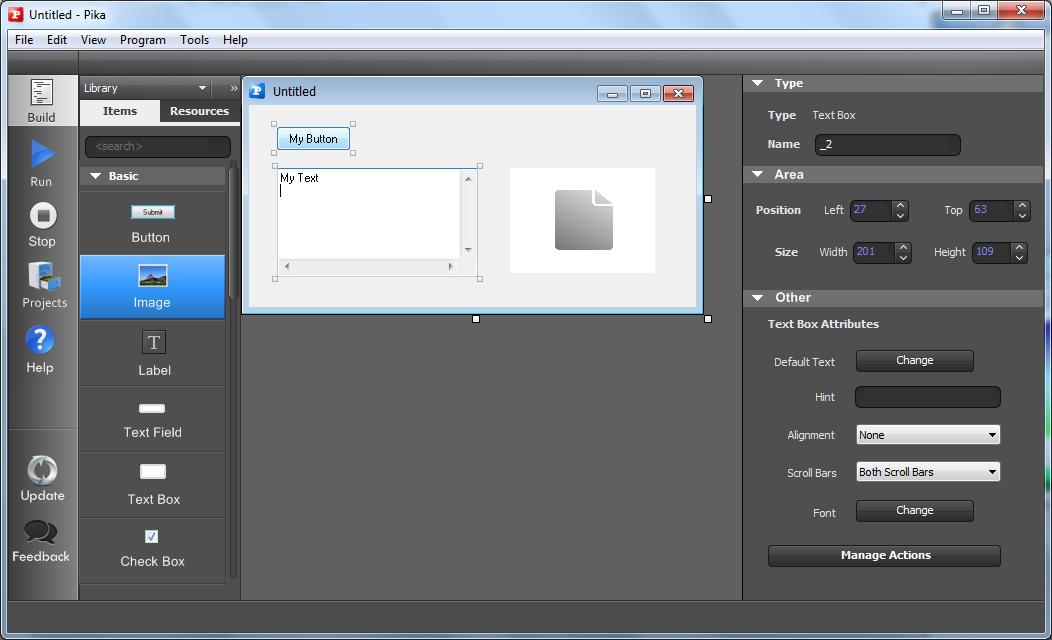 Screenshot af Pika Software Builder