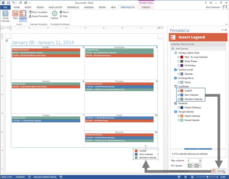 Screenshot af PrintableCal