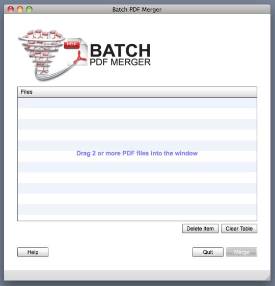 Screenshot af Batch PDF Merger (Mac)