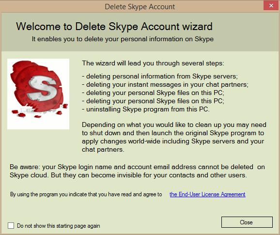 Screenshot af Delete Skype Account