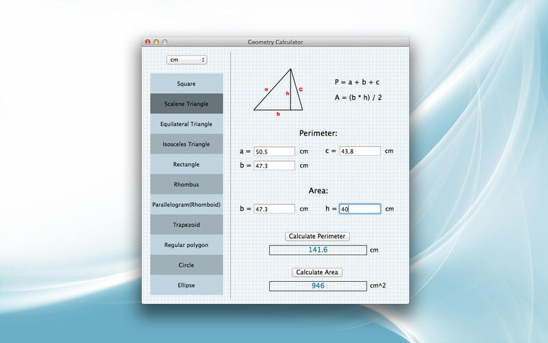Screenshot af Geometry Calculator