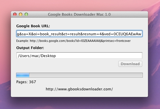 Screenshot af Google Books Downloader