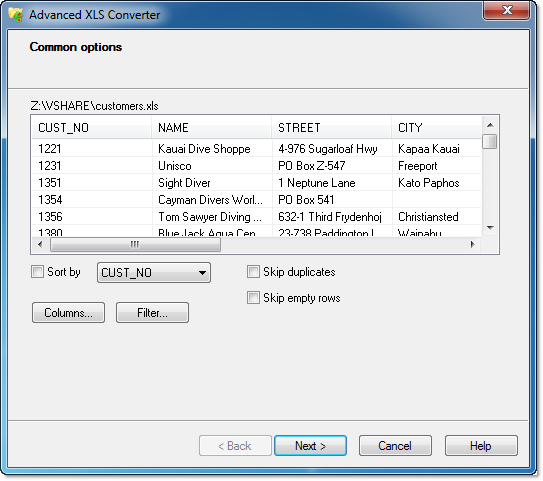 Screenshot af Advanced XLS Converter