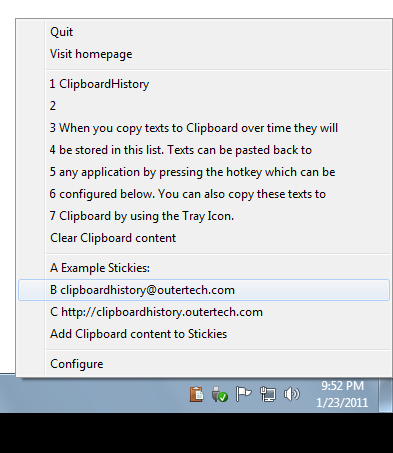 Screenshot af Clipboard History