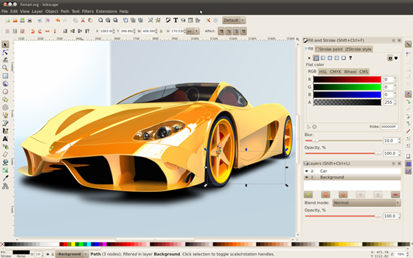 Screenshot af Inkscape til Mac