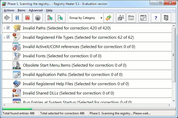 Screenshot af Registry Healer