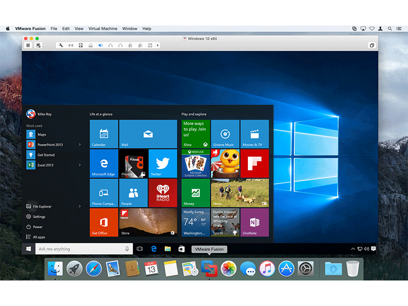 Screenshot af VMware Fusion for Mac