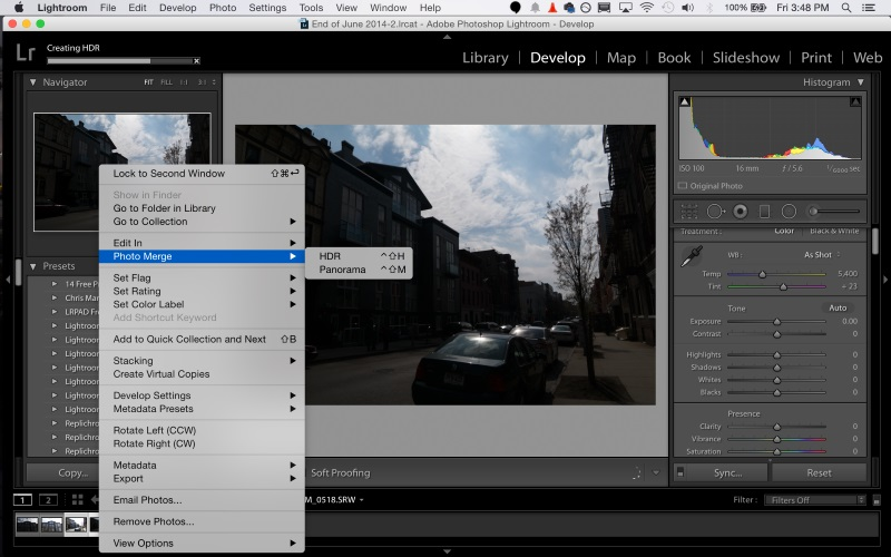 Screenshot af Adobe Photoshop Lightroom til Mac