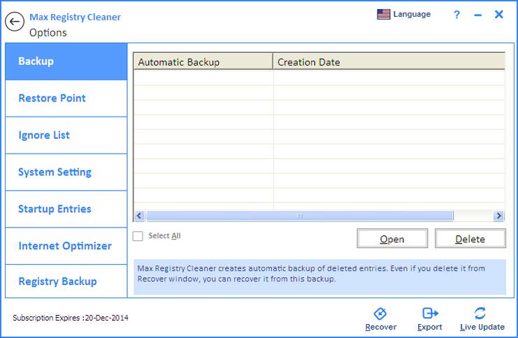 Screenshot af Max Registry Cleaner