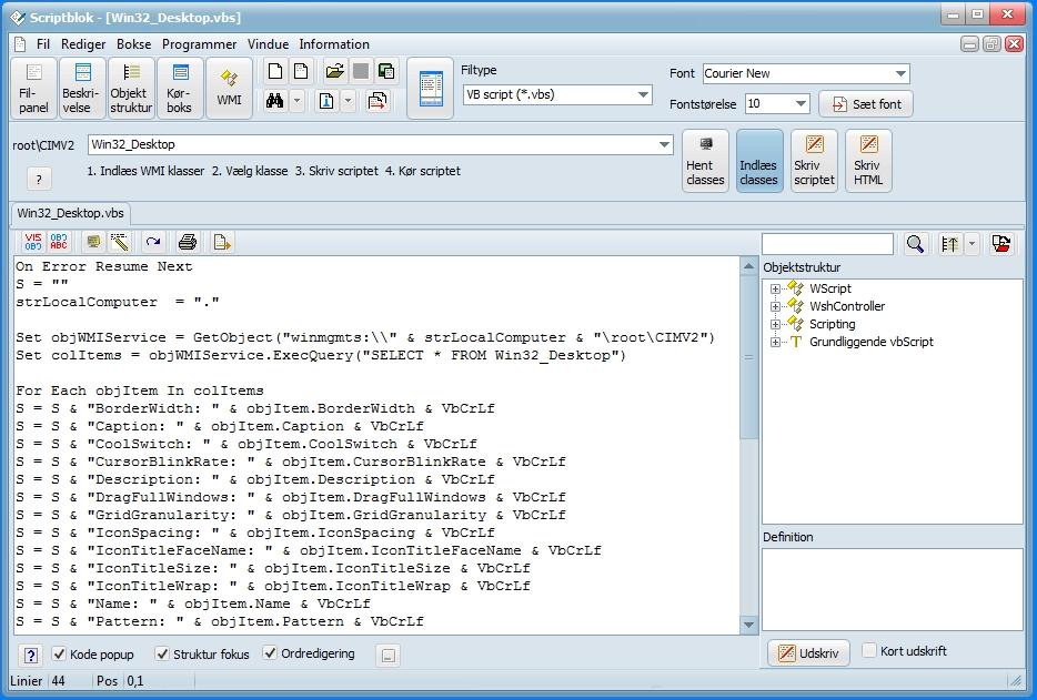 Screenshot af Scriptblok