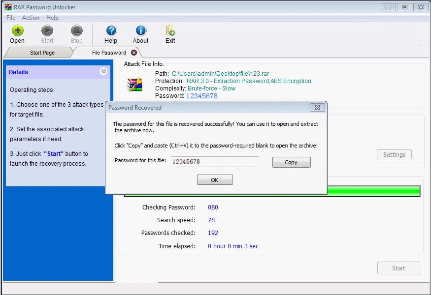 Screenshot af RAR Password Unlocker