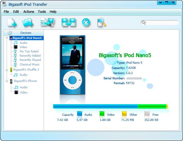Screenshot af Bigasoft iPod Transfer