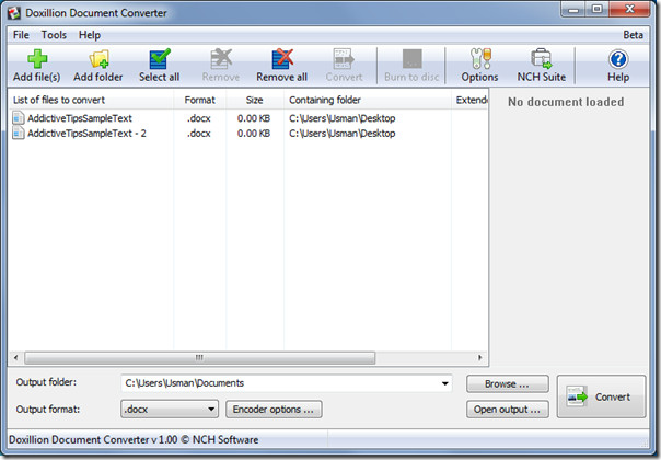 Screenshot af Doxillion Document Converter