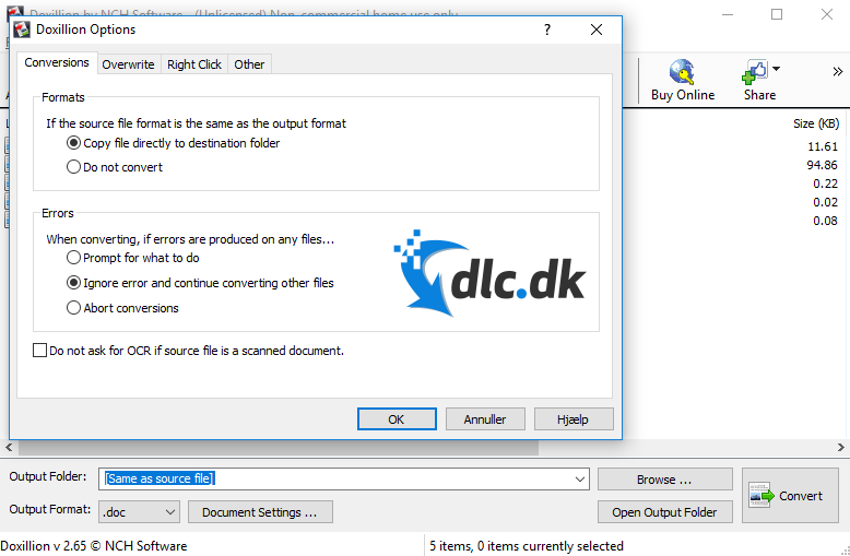 Screenshot af Doxillion Document Converter