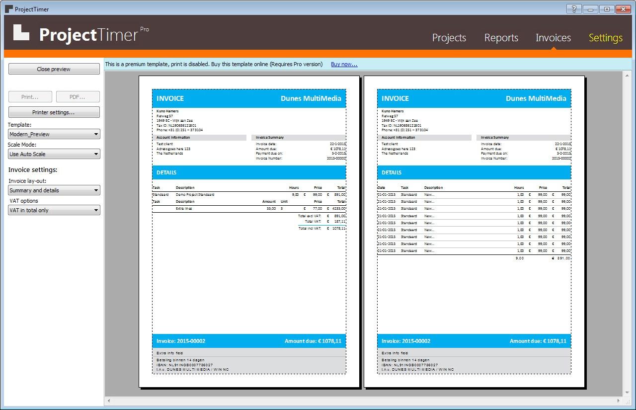Screenshot af Project Timer