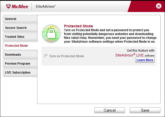 Screenshot af McAfee WebAdvisor