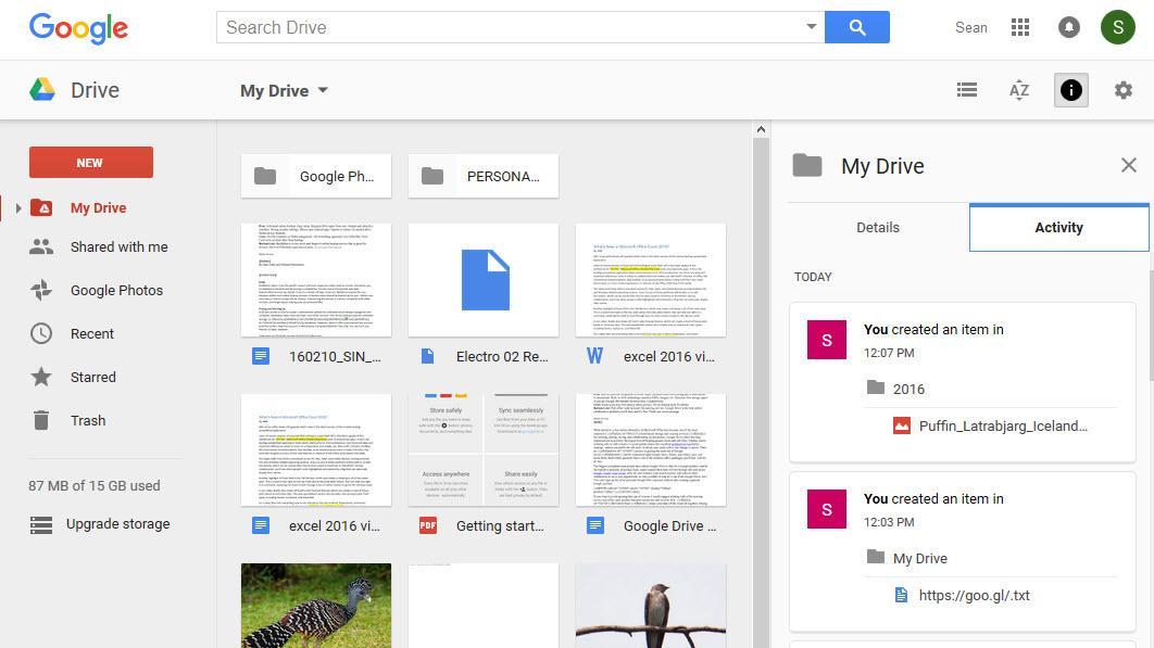 Screenshot af Google Drive
