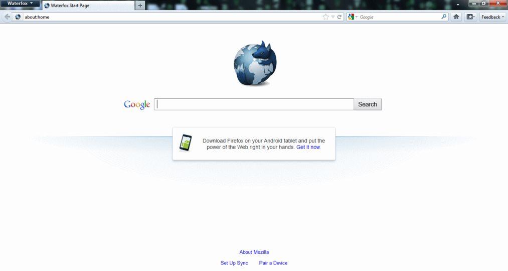 Screenshot af Waterfox