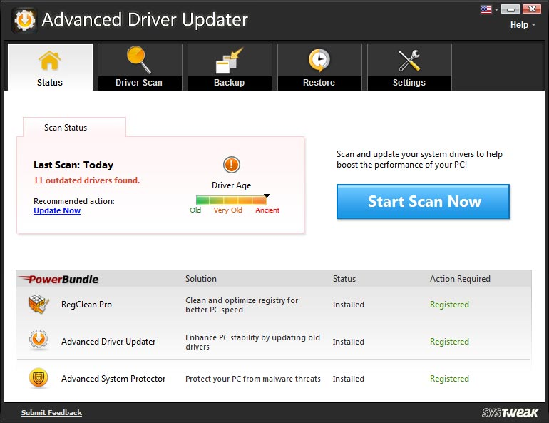 Screenshot af Advanced Driver Updater