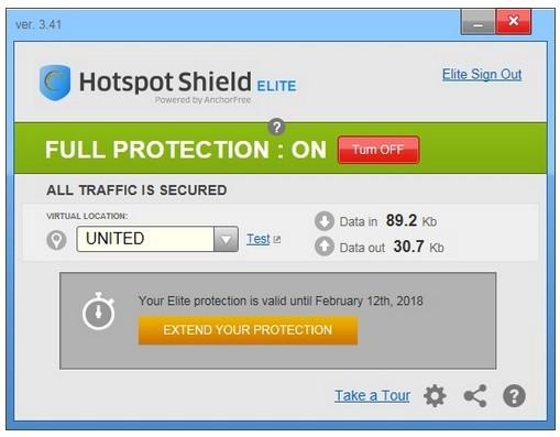 Screenshot af Hotspot Shield
