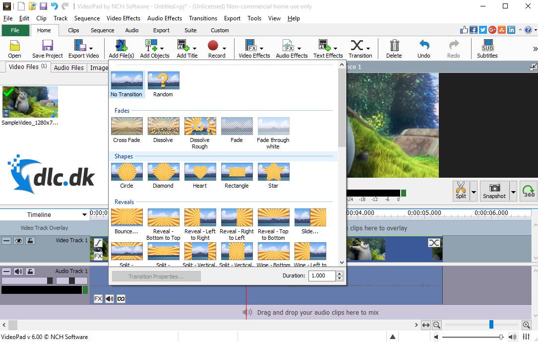 Screenshot af VideoPad Video Editor