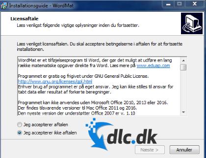Screenshot af WordMat (Dansk)