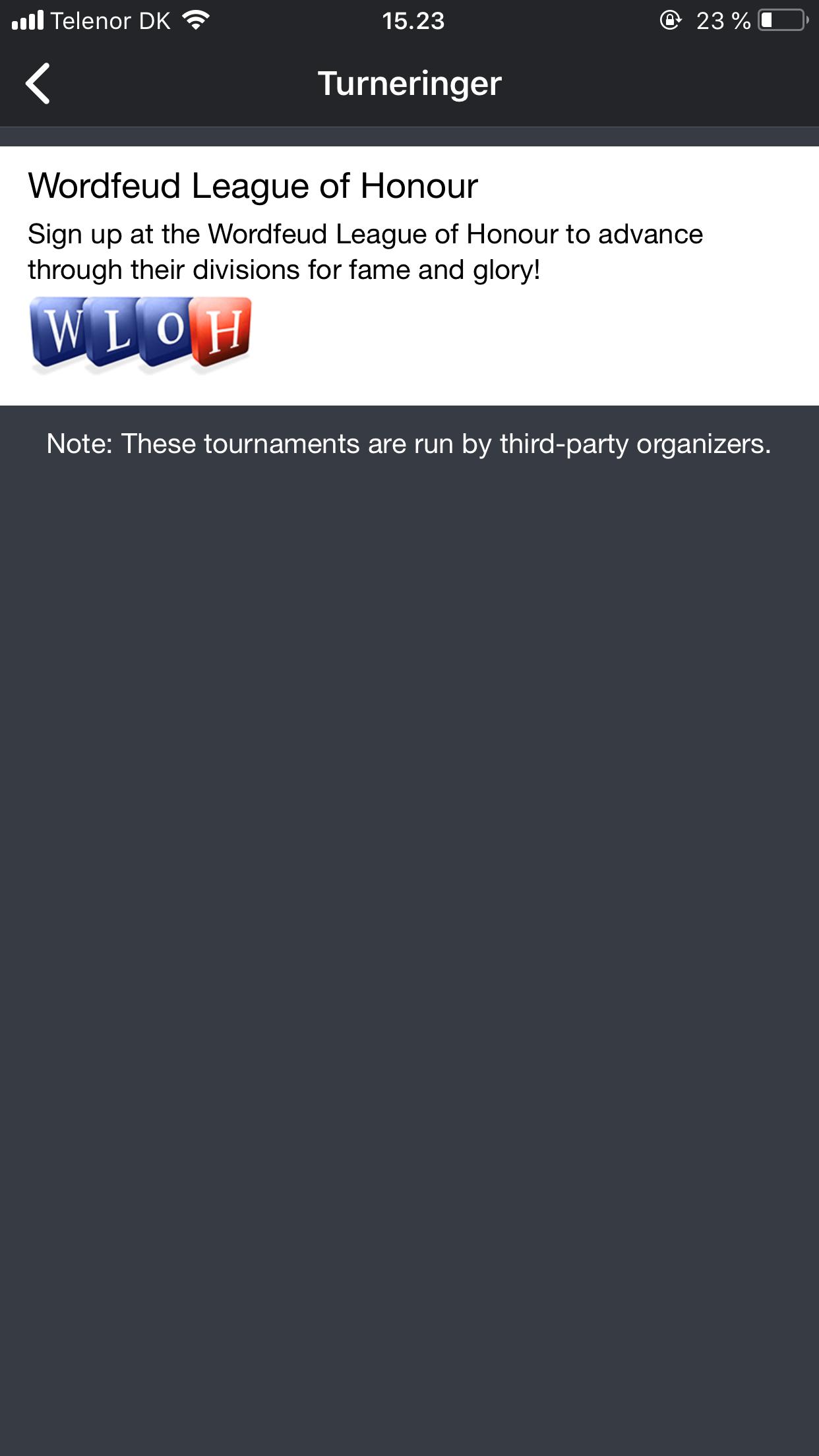 Screenshot af WordFeud (Dansk)