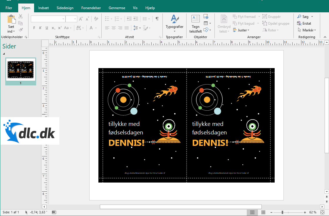 Screenshot af Microsoft Publisher