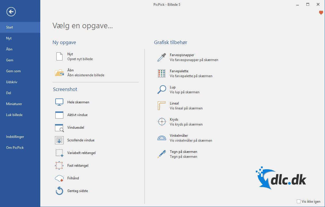 Screenshot af PicPick (Dansk)