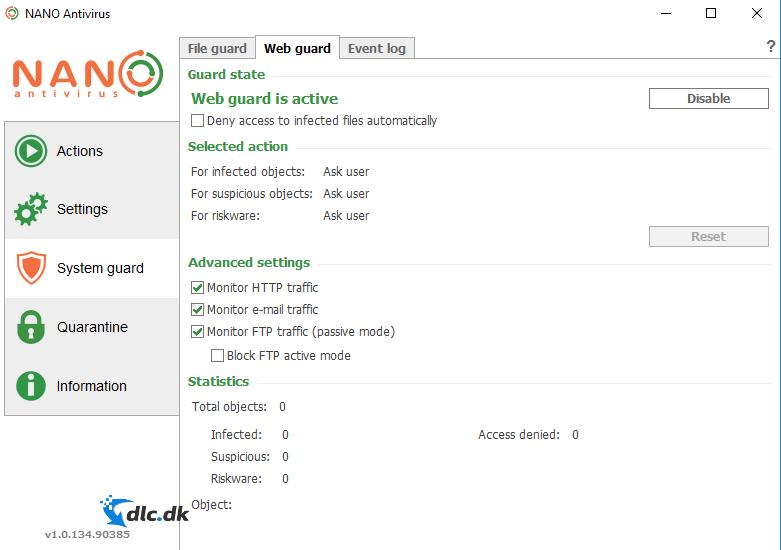 Screenshot af NANO Antivirus