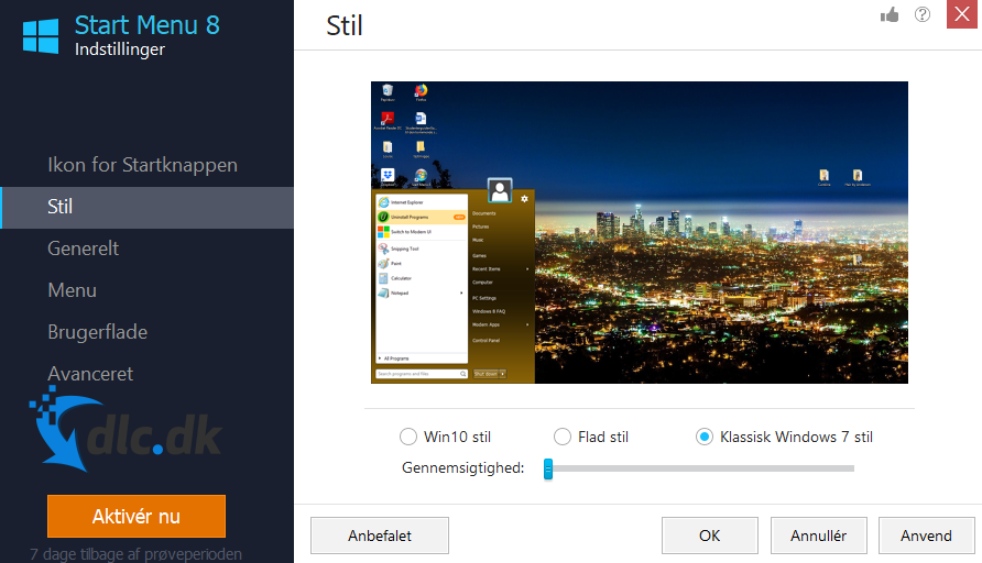 Screenshot af Start Menu 8