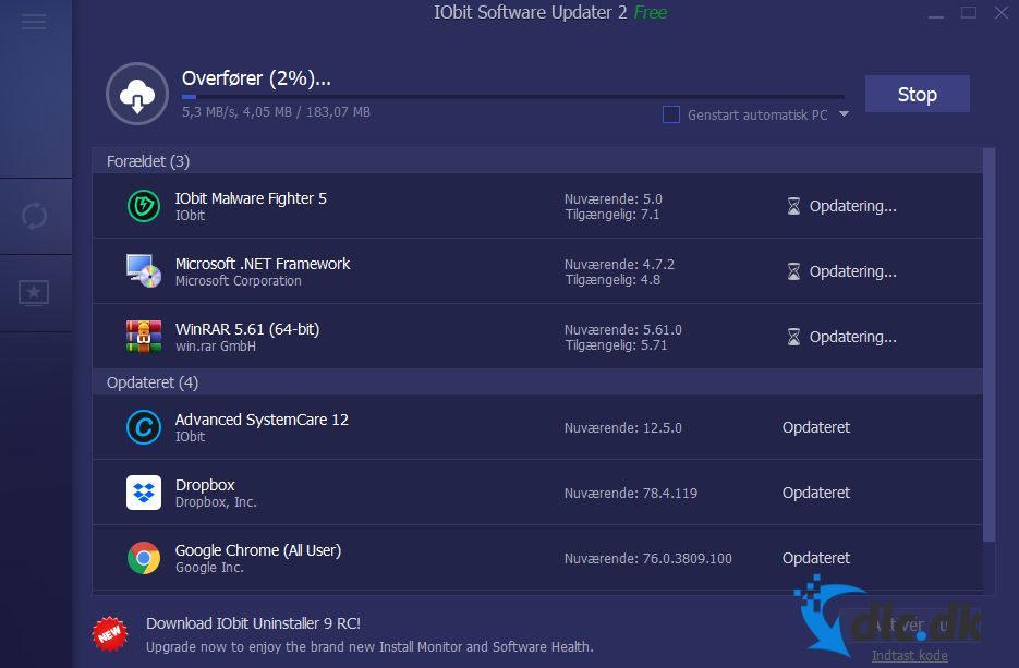 Screenshot af IObit Software Updater