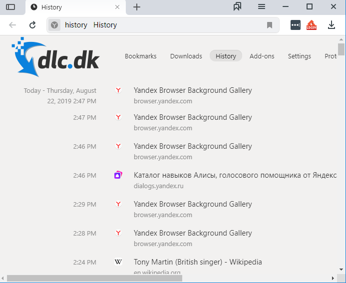 Screenshot af Yandex Browser