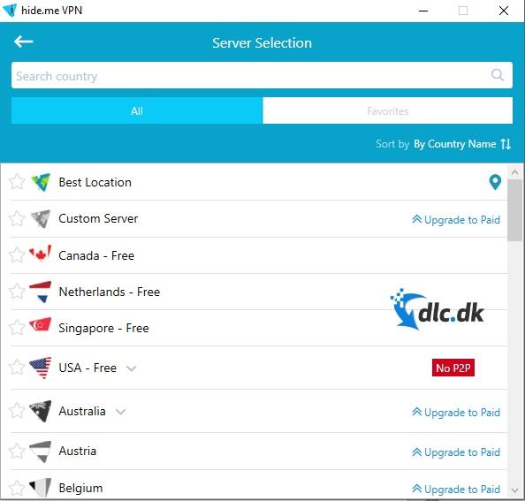 Screenshot af hide.me VPN