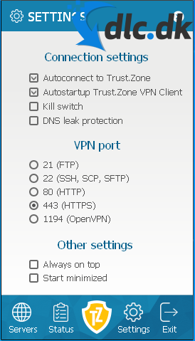 Screenshot af Trust.Zone VPN