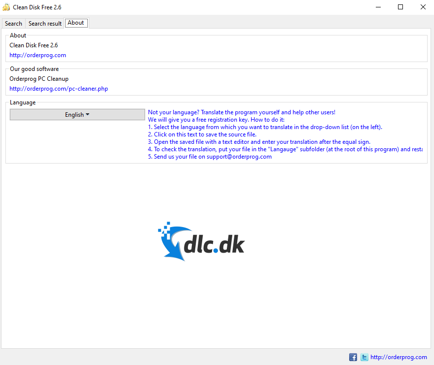 Screenshot af Clean Disk Free