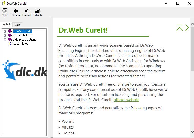 Screenshot af Dr.Web CureIt!