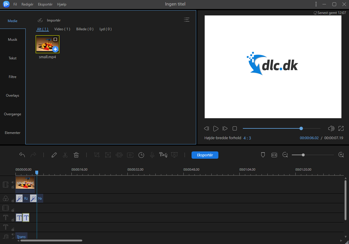 Screenshot af EaseUS Video Editor