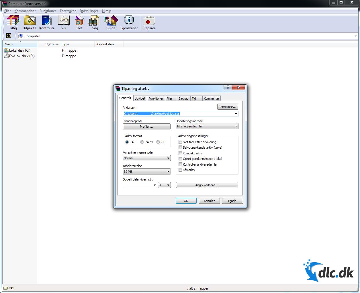 Screenshot af WinRAR (Dansk)