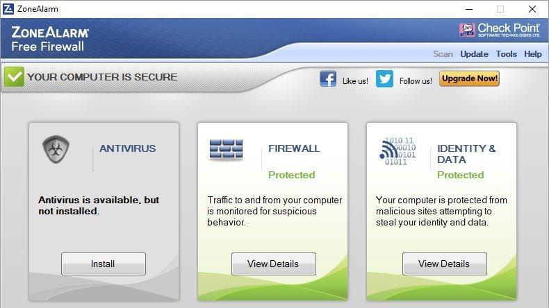 Screenshot af ZoneAlarm Free Firewall
