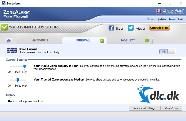 Screenshot af ZoneAlarm Free Firewall