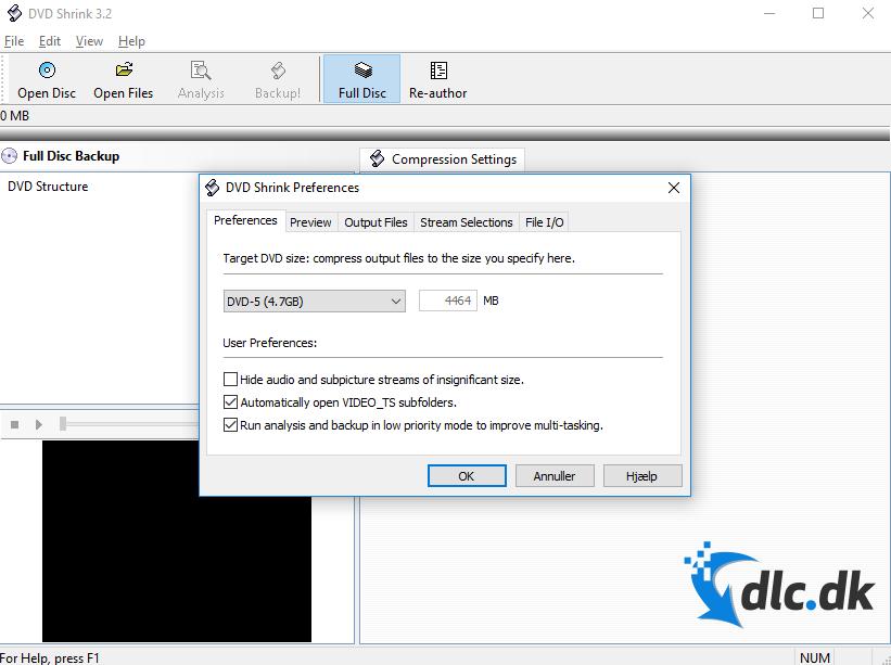 Screenshot af DVD Shrink